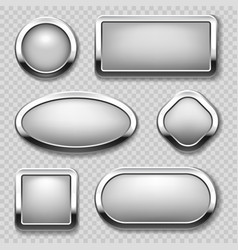 round chrome button collection on transparent vector image