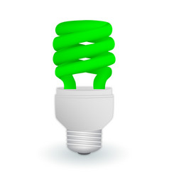 fluorescent green economical light bulb isolated vector image