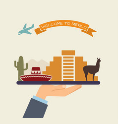Welcome to mexico attractions of mexico on a tray vector