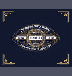 Vintage whiskey label vector