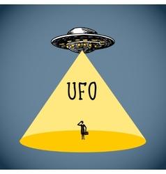 Ufo poster sketch vector