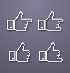 Thumbs up icon set flat style vector