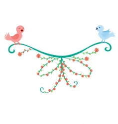 Bird couple decoration vector
