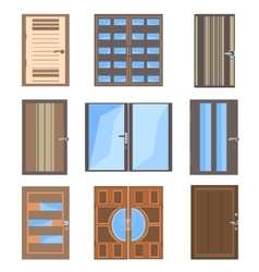 Set isolated combined doors vector