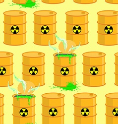 Chemical waste dump seamless pattern with barrels vector