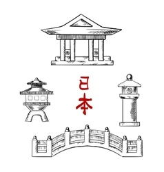 Japanese bridge temple and stone lanterns vector