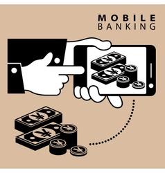 Mobile banking yen vector