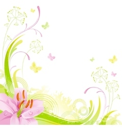 Floral summer background with red pink lily leafs vector