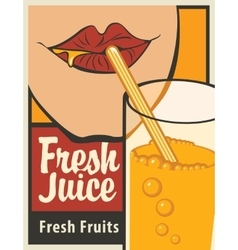Girl is drinking a glass of fresh juice vector