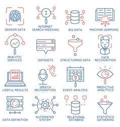 Data management analytic service icons 1 vector