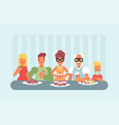 All ages enjoying sweets and ice cream vector