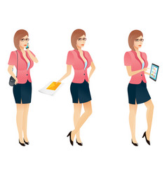 cartoon sexy young business woman or secretary vector image