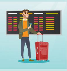 Caucasian airplane passenger holding passport vector