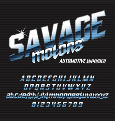Cool italic typeface savage motors vector