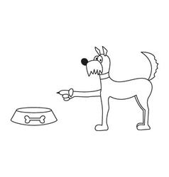 dog and food bowl sticker vector image vector image