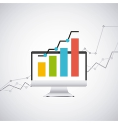 economy growth desktop computer technology icon vector image vector image
