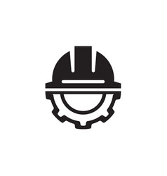 Engineering icon gear and hard hat development vector
