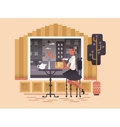 Girl sit in cafe vector image