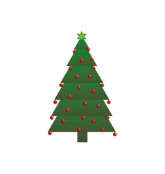 Green christmas tree with trunk and garlands vector