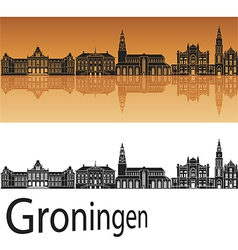 Groningen skyline in orange background vector image vector image