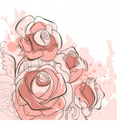 grunge roses vector image vector image