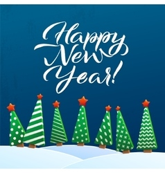 Happy new year greeting card brush lettering vector