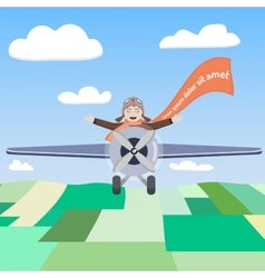 Happy pilot of the airplane in the sky vector
