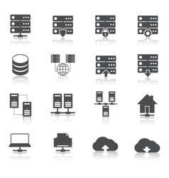 Hosting technology pictograms set vector