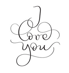 i love you text on white background hand drawn vector image
