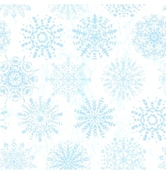 Ink hand drawn vintage snowflakes seamless pattern vector