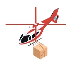 Isometric delivery helicopter vector image vector image