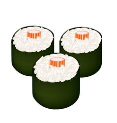 Kani maki or crab stick sushi roll vector