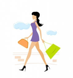 lady with shopping bag vector image vector image