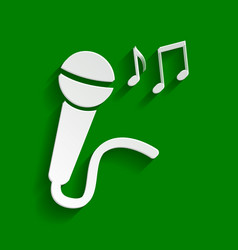 Microphone sign with music notes paper vector