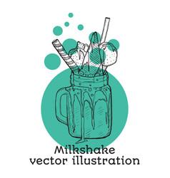 milk shake sketch style hand drawn vector image vector image