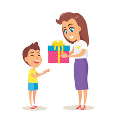 mom greets adorable son with winter holiday vector image