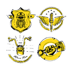 Moto biker theme icon set cafe racer golden vector