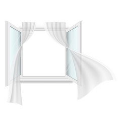 open window and fluttering curtains vector image vector image