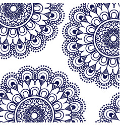 Pattern dark blue of flowers mandala decorative vector