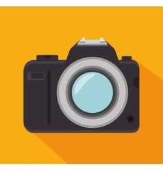phtographic camera lens yellow background shadow vector image