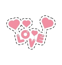 Pink lettering love hearts hanging cut line vector