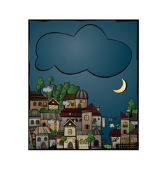 Postcard with cartoon construction night town vector