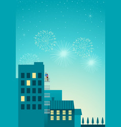 romantic new year night vector image