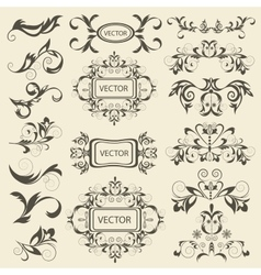 Set monograms floral ornaments vector