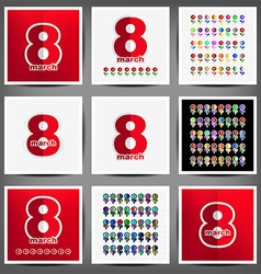 set of cards on March 8 vector image vector image
