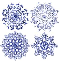 Set of floral round crocheting elements vector