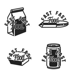 Vintage fast food emblems vector