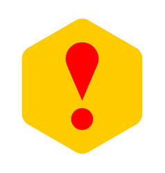 Yellow sexangle exclamation mark icon warning sign vector