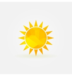 Yellow sun polygonal logo or poly icon vector