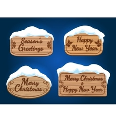 Wooden board signs with snow vector